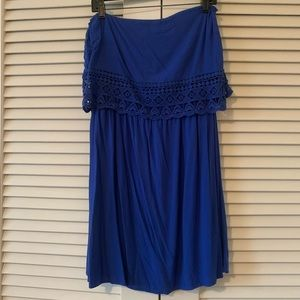 EUC blue strapless sun dress